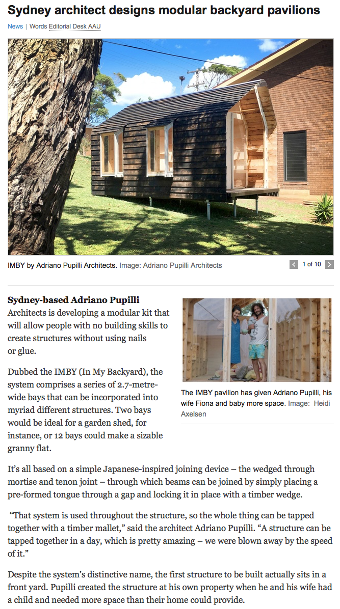 """Sydney architect designs modular backyard pavilions"" feature article in ArchitectureAU"